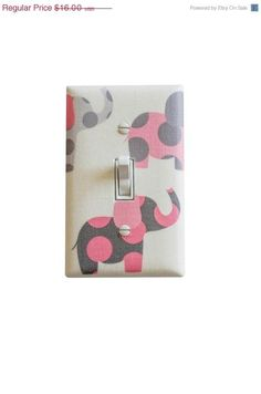 Pink and Gray Elephant Nursery Decor / Light Switch Plate Cover / Baby Girl Room Pink White Grey on Etsy, $12.80 by mavis