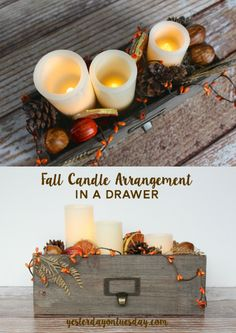 Lovely Fall Candle Arrangement in a Drawer, great fall decor idea