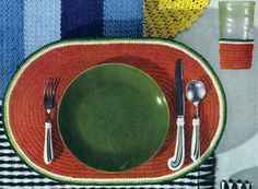 Watermelon placemat & glass jacket crochet pattern from Table Magic, originally published by J&P Coats & Clark's O.N.T., Book 298, in 1953.