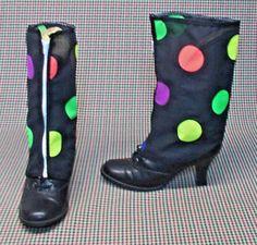 SPATS Victorian Steampunk black rainbow polka dot punk  boot fits all r128  #Geechlark