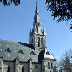 """Holy Name of Mary Church in St. Mary's Ontario. North Country Unfading Black roofing slate, 18"""" x 9"""" x 1/4"""" with pattern."""
