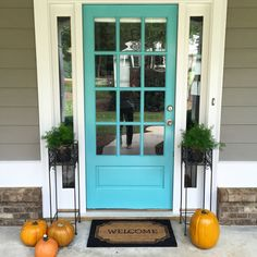 """My Tiffany blue front door // Sherwin Williams """"Reflecting Pool."""" // Such a beautiful and happy paint color!!"""