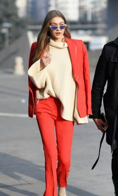 Gigi out and about in Milan, February 24th.