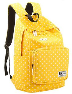 Leaper Casual Style Polka Dots Canvas/Oxford Laptop Backpack/ School Bag/ Travel Daypack/ Handbag with Laptop Lining (oxford-yellow) - Click image twice for more info - See a larger selection of yellow  backpacks at http://kidsbackpackstore.com/product-category/yellow-backpacks/ - kids, juniors, back to school, kids fashion ideas, teens fashion ideas, school supplies, backpack, bag , teenagers girls , gift ideas, yellow