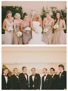 picturesque wedding party for elegant Beverly Hills Wedding Bridesmaid Poses, Champagne Bridesmaid Dresses, Wedding Bridesmaids, Wedding Dresses, Romantic Weddings, Elegant Wedding, Perfect Wedding, Dream Wedding, Wedding Trends
