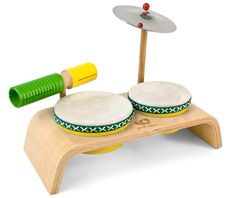 Green Tones Beginner Drum Set by Hohner - $54.95. Four drum instruments provide fabulous sounds to lead your little drummer to greatness.  Beat out some catchy rhythms with two tom drums of different pitches. Tap and scrape a clickity-clackity ruckus with the multi-timbre woodblock/guiro. Crash out the accents with a real metal cymbal! Supports eco-efficiency and reforestation.