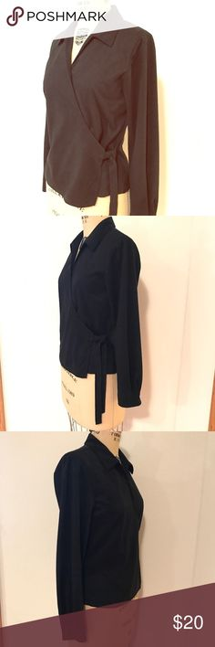 """Black Faux Suede Wrap Top Black wrap blouse with interior button and side tie. Measures about 19"""" across the chest when flat, 22 1/2"""" from shoulder to hem, and has a 24"""" sleeve length. Size S, but will fit a M. Fabric is faux micro suede in jet black. Last photo taken with flash to show detail. Looks great with a pencil skirt for work or skinny jeans and heels for after work. 🚫Trades🚫PP. Jessica Holbrook Tops Blouses"""
