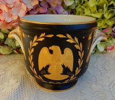 Napoleonic French France Porcelain Cache Pot  Black  Gold Bee Eagle