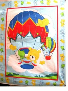 Hot Air Balloon Baby Child Quilt Top Fabric Panel | eBay