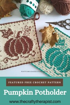 Free Pattern Friday – Tapestry Crochet Pumpkin Potholder – The Crafty Therapist | Sustainable Crochet