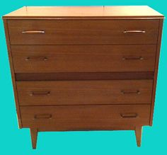 1950s-60s Mid Oak Chest of 4 Drawers on Atomic Splayed Legs #Brighton
