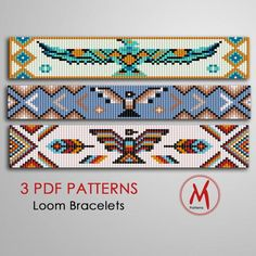 There are 3 PDF files with a Loom bracelet patterns native inspired Thunderbird collection. You can download it from Etsy right after payment transaction. File includes: 1. A bead legend includes the colour numbers and count of the delica beads for the suggested length 2. The pattern design 3. A Loom Bracelet Patterns, Bead Loom Bracelets, Bead Loom Patterns, Weaving Patterns, Jewelry Patterns, Free Seed Bead Patterns, Jewelry Ideas, Knitting Patterns, Embroidery Bracelets