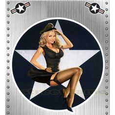 USA American Air Force Reporting for Duty Pin-Up Girl Decal - 6 x 8 Sheet
