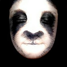 Skulls, Lions And The Super Mario Brothers: Amazing Transformations Of A Young Make-Up Artist - - Incredible creations inlcude animals such as this panda (SWN) Animal Face Paintings, Animal Faces, Maquillage Halloween, Halloween Makeup, Panda Face Painting, Panda Makeup, Animal Makeup, Character Makeup, Theatrical Makeup