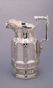 Pitcher  1845  Silver  11 x 8 1/2 x 5 1/2 inches