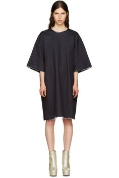 Facetasm - Indigo Denim Frayed Dress