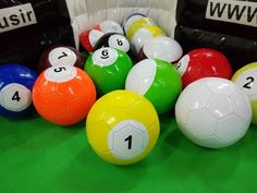 What is Footpool? It is a set of 16 footballs(soccer balls). Kick the white ball to hit other number balls. A pump will be included. They are painted as the blackpool balls. Football Soccer, Soccer Ball, Sport Pool, Balls, Pump, Youth, Sports, Soccer, Sport