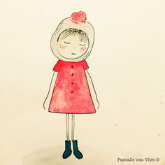 Drawing | Girl | She is both summer & cold | Dress | Hat | Child | Autumn