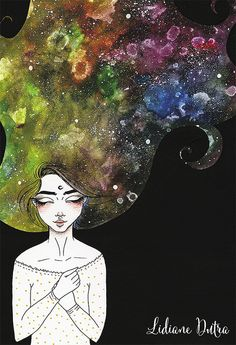 Maybe Tonight, illustration by Lidiane Dutra #illustration #art #painting #watercolor #nebula #galaxy