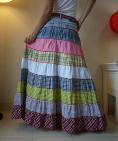 Fantasy Patched Tiered Long Hippie Funky Denim by beyondclothing
