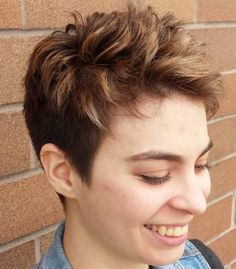 Brown Choppy Pixie With Highlights