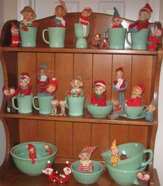 Clearly, if you turn your back, the elves will take over your jadeite. It's a Christmas thing! Thanks for the post, Gail Lopez Christmas Kitchen, Antique Christmas, Christmas Past, Vintage Christmas Ornaments, Retro Christmas, Vintage Holiday, Winter Christmas, All Things Christmas, Christmas Crafts