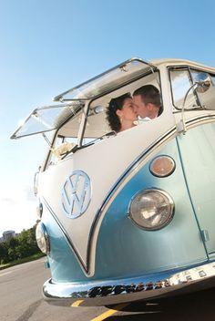 Something old, something new, something borrowed, something blue... A cool Kombi VW Wedding Car wedding! Photo by Amanda Wignell http://www.awp.co.nz  http://www.kombinedexperience.co.nz