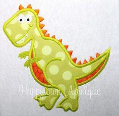 Happy Town Applique on Etsy-Dinosaur T-Rex Machine Embroidery Design. $3.00, via Etsy.
