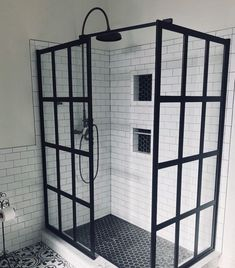 Industrial Farmhouse bathroom with black factory window style gridscape shower screen - small bathroom Industrial Farmhouse bathroom with black factory window style gridscape shower screen - small bathroom Modern Farmhouse Bathroom, Bathroom Tile Designs, Bathroom Shower Tile, Amazing Bathrooms, Bathrooms Remodel, Industrial Farmhouse Bathroom, Tile Remodel, Farmhouse Shower, Bathroom Design