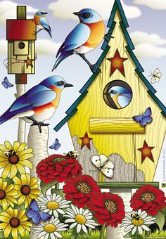 Jeremiah Junction Flag - Summer Bluebirds Decorative Flag at Garden House Flags at GardenHouseFlags