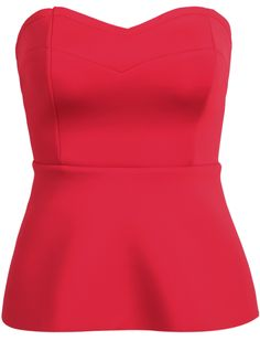 Red Strapless Back Buckle Vest