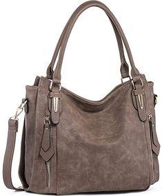f6583ba1baf691 Handbags for Women Shoulder Tote Zipper Purse PU Leather Top-handle Satchel  Bags Ladies Medium Size Uncle.Y Sepia Brown hobo bag leather