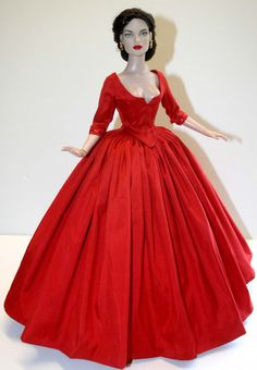 """Outlander Claire Red Silk Dress for 16"""" Tyler Dolls Tonner #DesignsbyJude"""