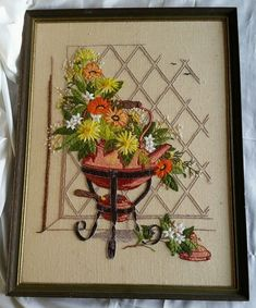 Vintage Floral Crewel Embroidery Needlepoint Completed Framed 70s Wall Art Finis in Crafts, Needlecrafts & Yarn, Embroidery & Cross Stitch, Finished Embroidered Pieces, Finished Needlepoint Pieces | eBay