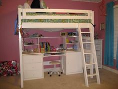 This is a great solid wood full size loft bed with desk underneath.  FOR SALE. Color is actually CHOCOLATE BROWN, not WHITE.  Also includes wall shelf.
