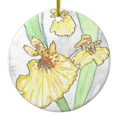 Yellow Orchid Circular Ornament from Original Watercolor Painting Christmas…