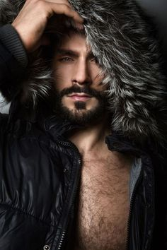 Man in Jacket with Fur Hat