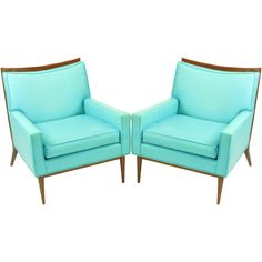 Pair Paul McCobb Turquoise Walnut Club Chairs ❤ liked on Polyvore featuring home, furniture, chairs, accent chairs, walnut furniture, walnut wood furniture, turquoise accent chair, set of 2 chairs and turquoise furniture