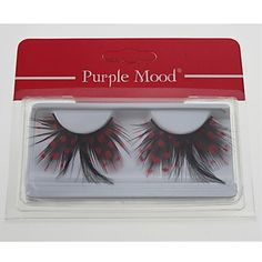 1 Pair Pro High Quality Hand Made Red Dot Black Color Feather False Eyelashes CFE408# - USD $ 2.82