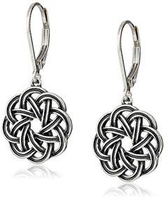 ec72a2f0d cool Sterling Silver Oxidized Celtic Knot Lever-Back Drop Earrings 18k Gold  Earrings, Amethyst