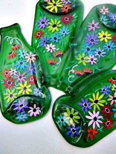 Melted Bottle Serving Tray Four Melted Bottles by GlassGaloreGal