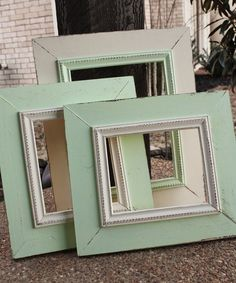 Distressed Picture Frame Wall Grouping Set - Custom Make in Your Colors. $160.00, via Etsy.