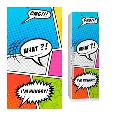 Fabric Fridge sticker COMIC by Sticky!!!