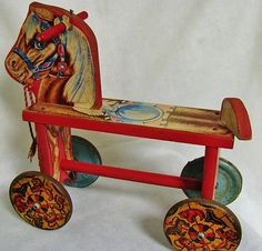 RARE Antique Early 1900's Metal Masters Wooden Horse Pull Toy Tin Wheels Litho