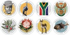 National Symbols RSA Republic of South Africa Stamps 2014 South African Post Coat of Arms Flag Anthe