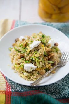 Preserved Lemon Quinoa with Shaved Brussels Sprouts and Toasted Walnuts via SimpleBites.net