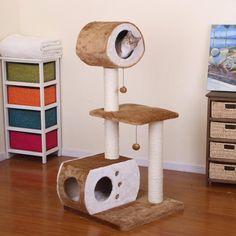 "PetPals+50""+Sphere+Multi-Level+Fleece+and+Sisal+Fun+House+Cat+Condo+PP2563"