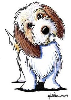 """Petit Basset Griffon Vendeen"" by Kim Niles: Petit Basset Griffon Vendeen dog breed art by Illustrator, Kim Niles. Kim's original work are available at KiniArt.com"