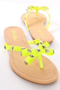 Neon yellow faux leather studded sandals