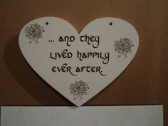 Happily Ever After HeartShaped Wooden Sign by BigFootImpressions, $65.00